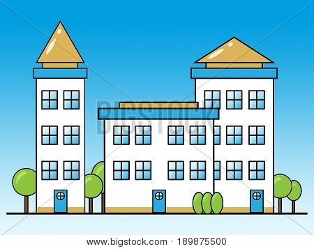 Apartment Building Shows Condominium Property 3D Illustration