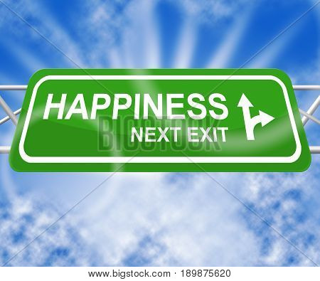 Happiness Signs Means Happier Joy 3D Illustration