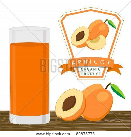 Abstract vector illustration logo whole ripe fruit apricot with green stem leaf cut sliced background.Apricot drawing consisting of tag label peel fruits pip ripe sweet food.Drink fresh apricots glass