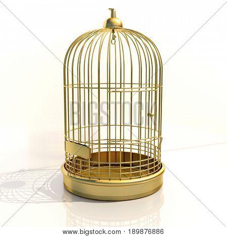 3d render: Empty Bird Golden Cage on Light Background
