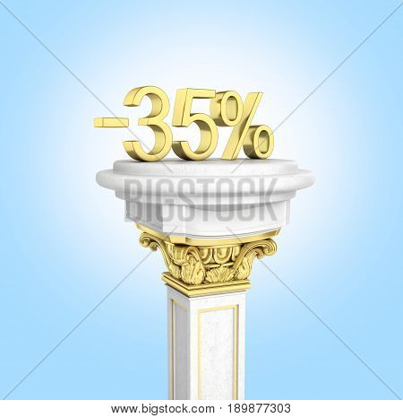Gold Text 35 Percent Off Standing On The Pedestal Isolated On Blue Gradient Background 3D Render