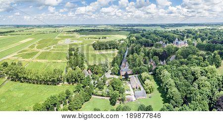 Aerial view of the medieval castle De Haar in Netherlands, Europe