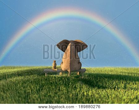 elephant and dog on a green grass field, 3d illustration