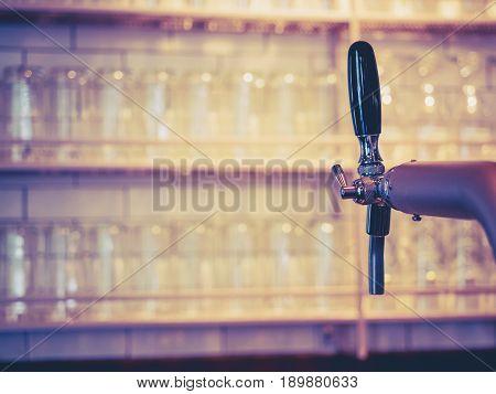 Beer Tab in row Beer glass on shelf Bar Pub Brewery