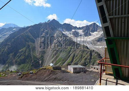 Ascent On A Cable Car To Elbrus At A Height Of 4000 Meters