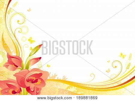 Autumn background with gladiolus flower, falling leaves, butterflies, abstract wave lines, swirls, grunge pattern, copy space for text. Elegant modern seasonal vector illustration.