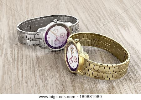 Gold and silver wrist watches on wooden background, 3D illustration