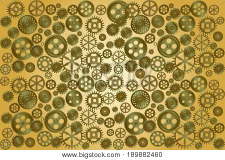 Metallic gear wheels as industrial, technical or steampunk background. Vector illustration EPS10