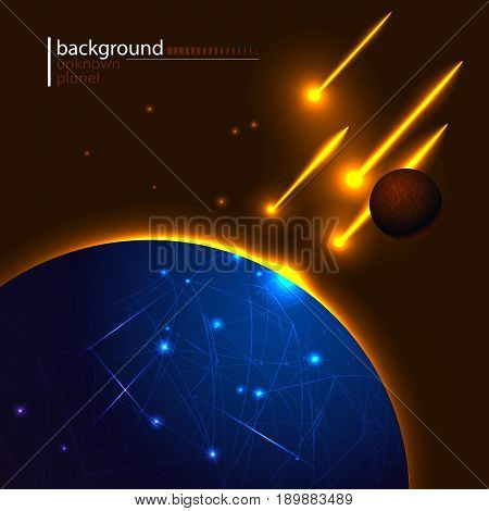 Vector illustration of an unknown planet in space