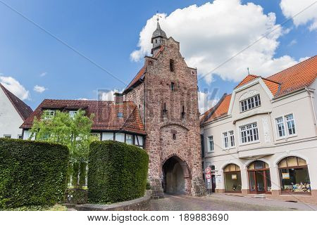 BLOMBERG, GERMANY - MAY 22, 2017: Old city gate Niederntor in the historical center of Blomberg, Germany