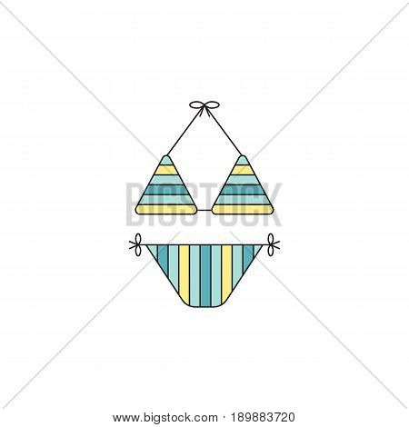 Swimming suit vector thin line icon. Colored isolated symbol. Logo template, element for summer products, fashion, travel agency brochure, banner. Simple mono linear modern design.