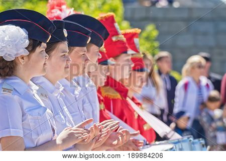 Students Of The Cadet Corps And Drummers Stand In Formation At A Ceremonial Meeting With The Sailors