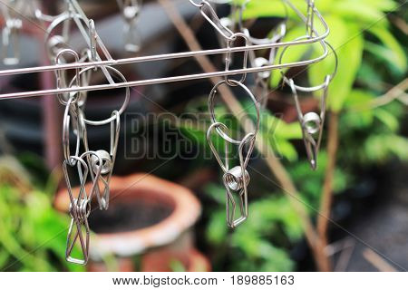 Cloth hanger is a blank metallic color
