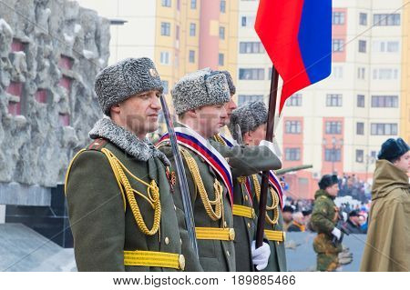 NORILSK, RUSSIA - MAY 9, 2016 Military parade May 9 in Norilsk