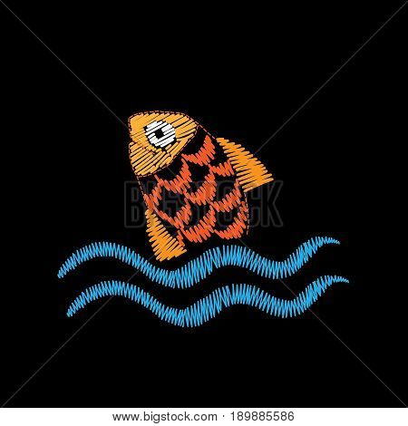 Little fish embroidery stitches imitation isolated on the black background. Embroidery fish with wave for logo label emblem sign poster t-shirt print. Vector embroidery illustration.