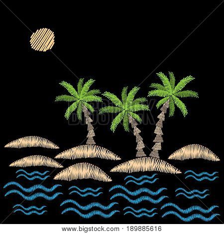 Palm tree with sun and wave embroidery stitches imitation on black background. Embroidery vector illustration with exotic palm tree. Vector isolated palm embroidery illustration.