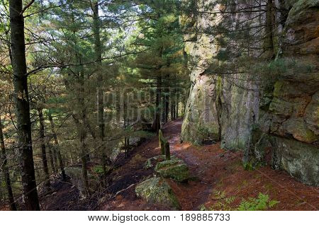 hiking trail through woods and along bluffs of castle mound pine forest near black river falls wisconsin