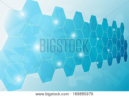 Ice Wall Background Designed as Mirror-Like Hexagon Plate Concept With Light Texture