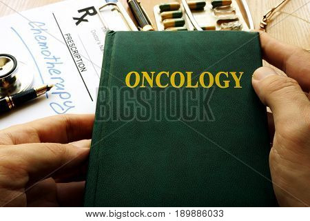 Title Oncology on a book in a hospital.