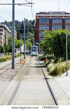 Tracks with Shuttle in Background in Seattle