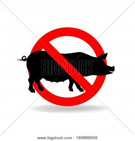 Do not litter vector sign. Crossed pig. No pork ymbol