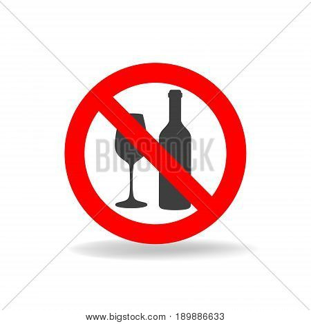 No alcohol vector sign. Strikethrough vine glass and bottle