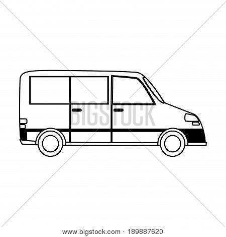 car van  sideview cartoon icon image vector illustration design  black line