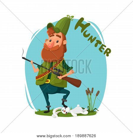 Hunting. A hunter with a gun in his cap and in jelly retrieved a rabbit. Reeds, grass, animals. Vector, cartoon style