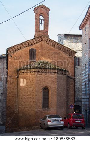 Italy Siena - December 26 2016: the view of an old church of Siena on December 26 2016 in Siena Tuscany Italy.
