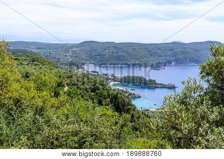 Aerial view of Paleokastritsa coast from Bella Vista. Corfu island, Greece.