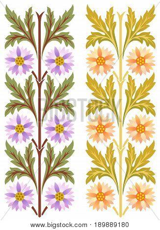 Central European Renaissance floral decorations in two colors