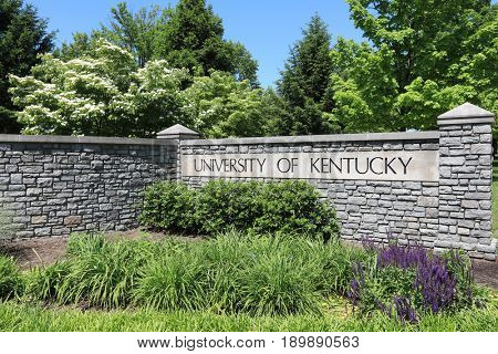 LEXINGTON, KENTUCKY - MAY 13, 2017:  The University of Kentucky is located in Lexington.  UK is the largest university in Kentucky with enrollment over 30,000.