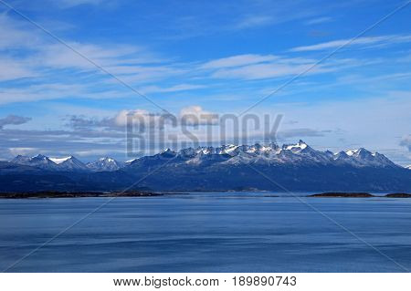 Mountains behind the beagle channel, Ushuaia, Tierra Del Fuego, Argentina