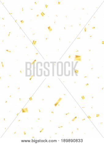 Confetti. Golden confetti isolated on white background. Flying confetti