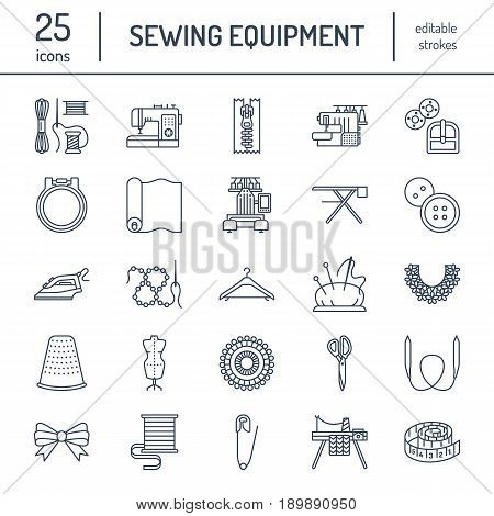 Sewing equipment, tailor supplies flat line icons set. Needlework accessories - sewing embroidery machine, pin, needle, thread, zipper, hanger and other DIY tools. Linear signs set, logos for hand made store.