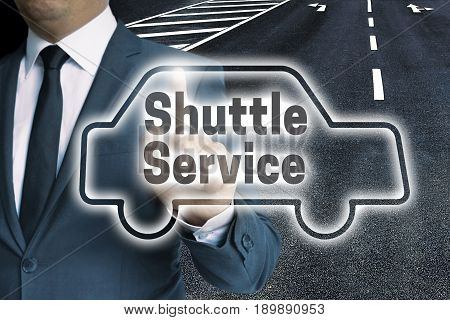 Shuttle Service Car Touchscreen Is Operated By Man