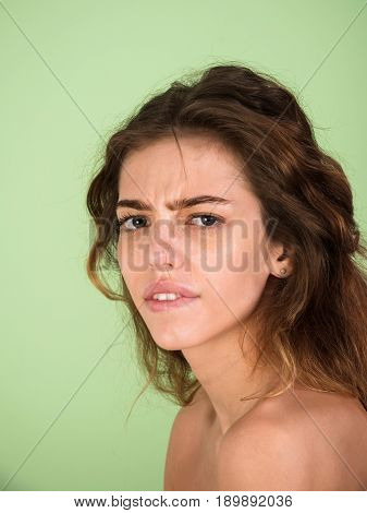 Woman With Serious Face And Fashion Hair