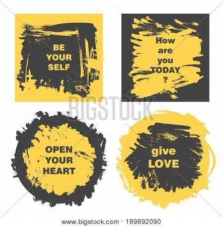 Vector banners with text, hand drawn painted grunge frames, grunge brushed poster, quote boxes