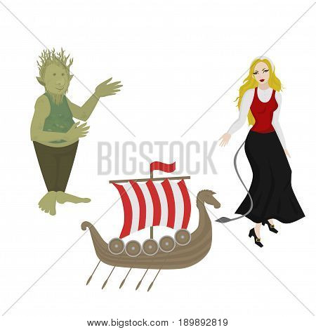 City sights icons. Norway landmark. Flat travel norwegian mythical elements. Viking ship. Girl in Traditional Clothes. Fairytale character troll.