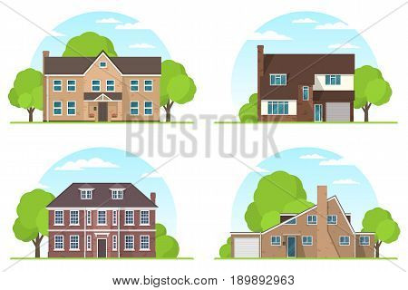 Set of frontview of english style suburban private houses. Flat design. Vector illustration.