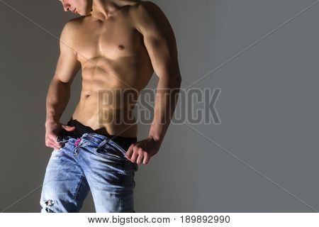 Body, Naked Male In Unbutton Blue Jeans
