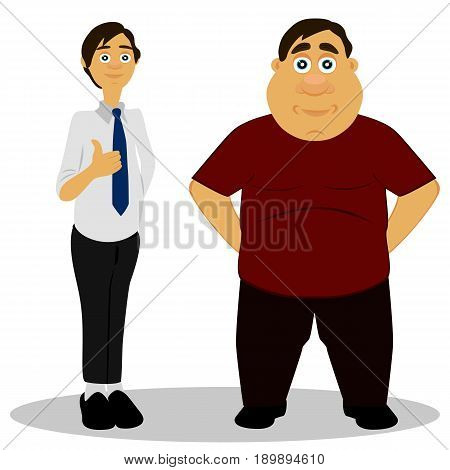 Thin and fat. Obesity. Caricature. Isolated objects. Vector illustration.