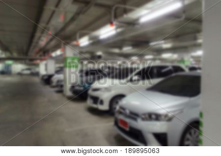 abstract blurred car park indoor underground for background color tone effect