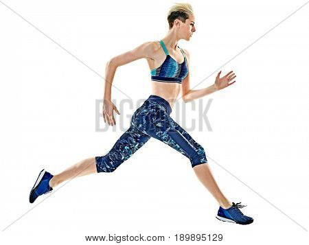 young caucasian woman runner, running, jogger, jogging, studio isolated in white background