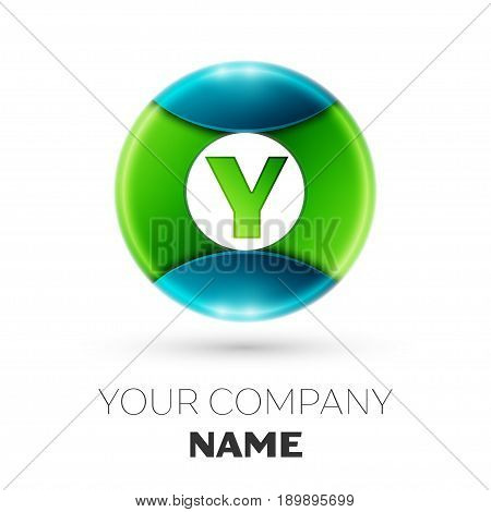 Realistic Letter Y vector logo symbol in the colorful circle on white background. Vector template for your design
