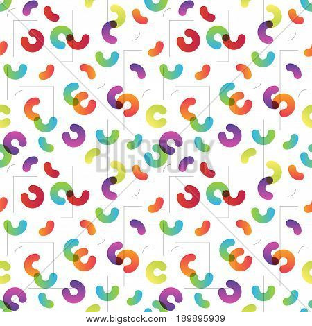 Modern trend color transition flat design vector seamless pattern. Arcs and lines