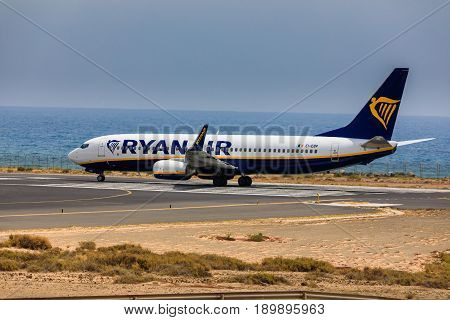 Arecife, Spain - April, 16 2017: Boeing 737-800 Of Ayanair With The Registration Ie-ebp Ready To Tak