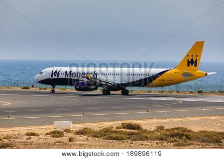 Arecife, Spain - April, 16 2017: Airbus A321 Of Monarch Airlines With The Registration G-ozbu Ready