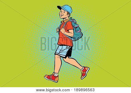 Boy student with a backpack goes to school or Hiking. Pop art retro vector illustration