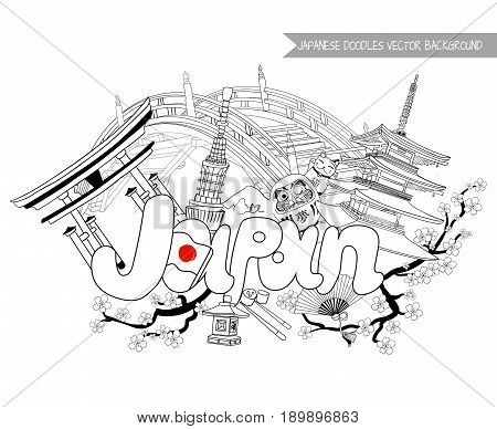 JAPAN doodle background, VECTOR illustration isolated on white